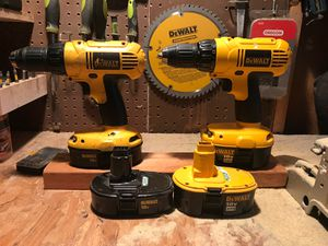 Two DeWalt drills with 4 batteries and charger for Sale in Midlothian, VA