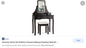 Vanity Set Of Mirror Drawers Storage Box Makeup-Brown for Sale in Bakersfield, CA