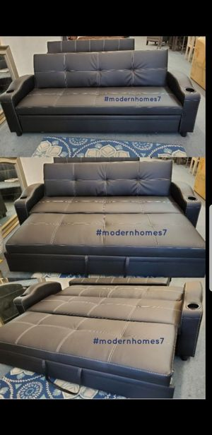 Black leather sofa bed pullout sleeper couch for Sale in Fontana, CA