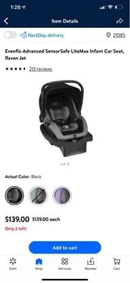 Evenflo advanced sensor-safe litemax infant car seat for Sale in Forest Hill, MD