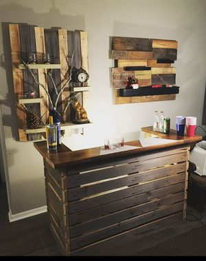 Custom wood bar top and wall shelves. Price negotiable! for Sale in Houston, TX