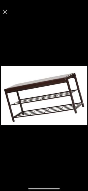 STORAGE MANIAC 2-Tier Shoe Rack Bench with Faux Leather Seat, Entryway Shoe for Sale in Norwalk, CA