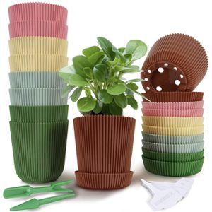 10-Pack Plastic Pots for Plants, 3.74 Inch Pots with Drainage Hole 5 Colors Flower Plant Pots Indoor Plants with Tray, Perfect for Succulents, Flowers for Sale in Belle Isle, FL