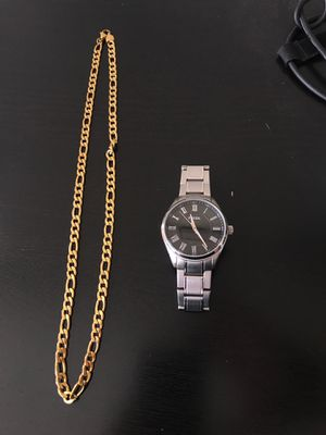 Gold chain and fossil watch for Sale in Modesto, CA
