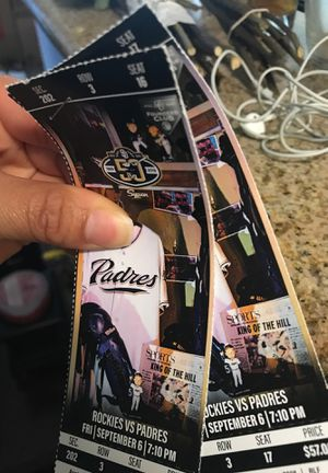 2 Padres Tickets for tonight 9/6/2019 @ 7:10pm for Sale in Escondido, CA