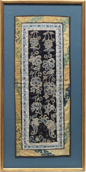 Chinese Antique Forbidden Stitch Silk Embroidery And Brocade Border In Gilt Wood Frame for Sale, used for sale  Miami, FL