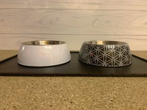 Stainless Steel Dog Bowls and placemat (black & white) for Sale in Kent, WA