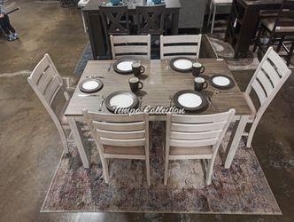7 PC Modern Dining Set, Whitewash, SKU# ASHD394-425TC for Sale in Santa Fe Springs,  CA