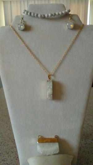 White Drusy quartz pendant earrings and bracelet for Sale, used for sale  Phoenix, AZ