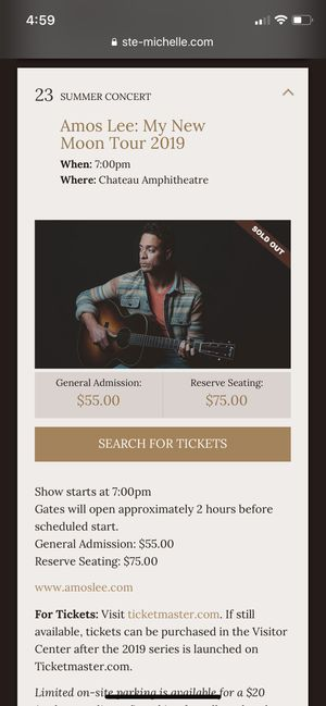 Amos Lee Concert Chateau St Michelle 8/23 for Sale in Redmond, WA