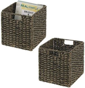 mDesign Natural Woven Seagrass Closet Storage Organizer Basket Bin - Collapsible for Sale in Ontario, CA