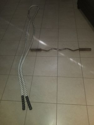 Workout cardio rope and curl bar for Sale in Miramar, FL