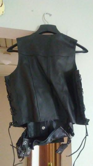 Lace up leather jacket/ chaps motorcycle gear for Sale in Columbus, OH