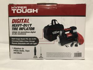 Hyper Tough DC 12V Heavy-Duty Direct Drive Tire Inflator with Detachable Light, Black for Sale in Spokane, WA