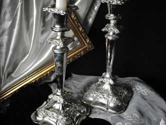 Vintage English Silver Plate Ornate Candlestick Holders for Sale in Riverside,  CA