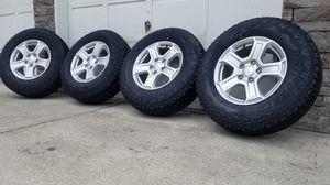 Set of 4 Brand new 2020 jeep wrangler gladiator wheels with bridgestone all terrian, 245 75 r17 for Sale in Spanaway, WA