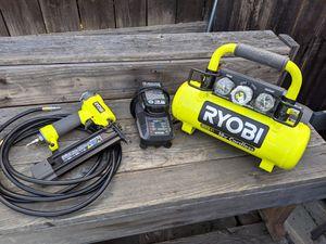 Ryobi 18 volt air compressor nail gun kit 18 gauge brad nailer with air hose for Sale in Brea, CA