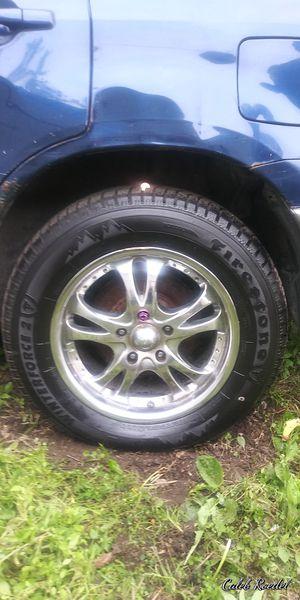 Set of 4 Firestone 225/60 R16 tires w/ 5 bolt chrome rims for Sale in Des Moines, IA
