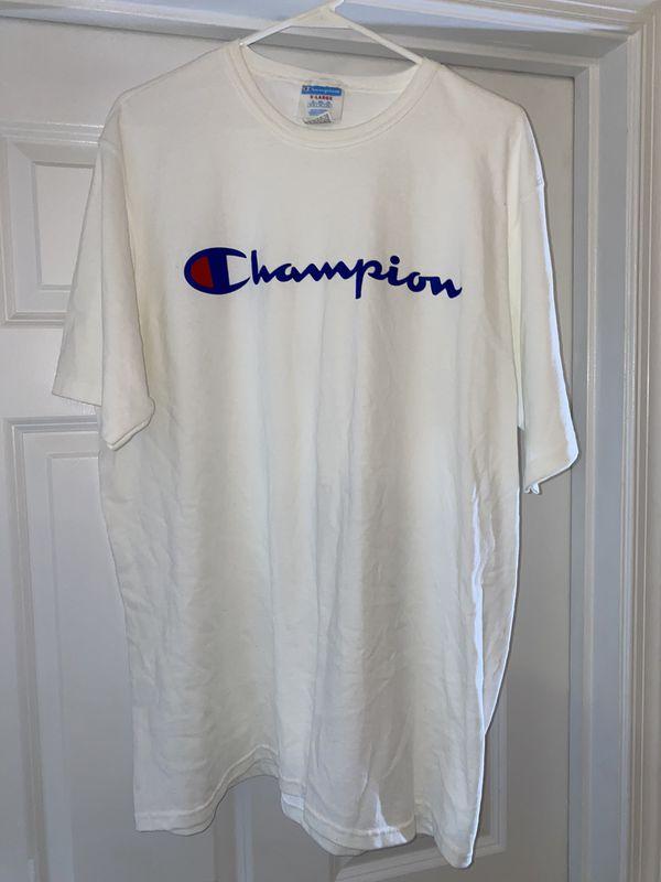 White Champion Script T-Shirt size XL