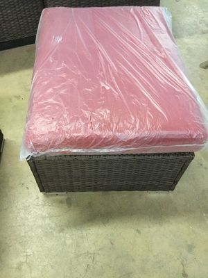 Wicker Outdoor Footrest with Cushion in Red for Sale in Dallas, TX
