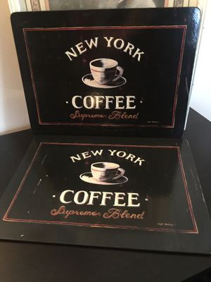 """Two card board coffee signs cool decorations """" euc 24 by 26 cork back light weight for Sale in Northfield, OH"""
