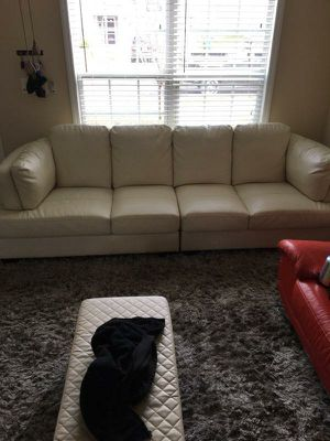 White extra long leather couch for Sale in Creedmoor, NC