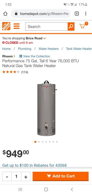 BRAND NEW 75GAL GAS WATER HEATER for Sale in Reynoldsburg, OH