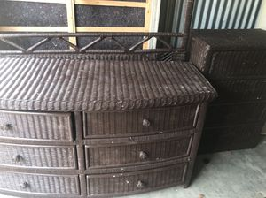 Painted Brown wicker Bedroom suite.. for Sale in Bedford, TX