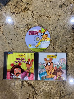 LIVING BOOKS CD-ROM Marc Brown Arthur's Birthday, D.W. The Picky Eater, Arthur's Reading Race Ages 3-7 years old LEARNING FOR CHILDREN KIDS for Sale in Corona, CA