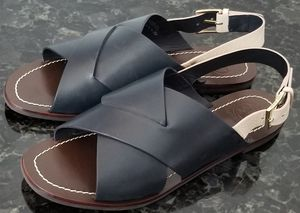 Tory Burch Emori Leather Woven Sling Back Casual Sandals Flats 7M Navy Cream NWT for Sale in Chula Vista, CA
