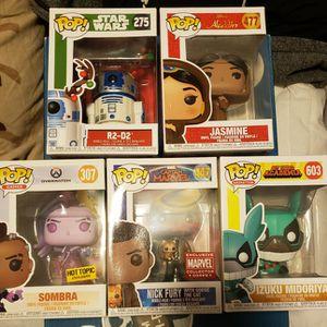 Funko Pop! Christmas R2-D2, Jasmine, Hot Topic Exclusive Sombra, Nick Fury W/Goose, And Izuku Midoriya for Sale in Sacramento, CA