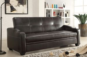 "Brand new 84""L black faux leather or gray linen sofa futon with cup holders for Sale in San Diego, CA"
