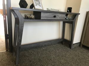 Cecilia Console Table/ Display Cabinet, Distressed Grey Color for Sale in Garden Grove, CA