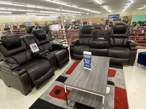 Brand new brown leather power reclining sofa and loveseat with USB ports for Sale in Dallas, TX