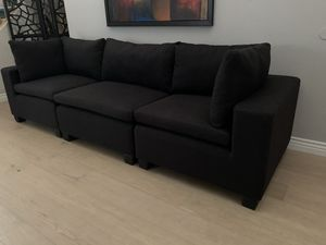 STUNNING BLACK CONTEMPORARY LINEN LOUNGE SOFA COUCH SECTIONAL STAGING FURNITURE for Sale in Peoria, AZ