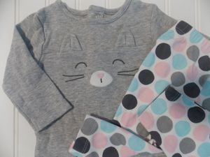 Carter's Baby Girls 6M Kitty Cat 2PC Bodysuit Top Polka Dot Pants Outfit 6 Month for Sale in Tacoma, WA