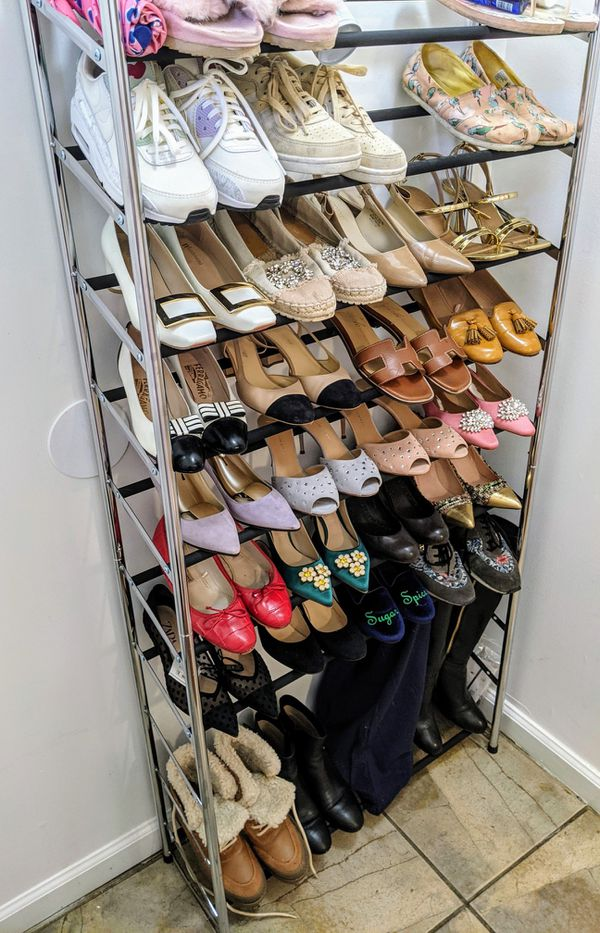 Wayfair shoe rack for 50 pairs with optional wheels