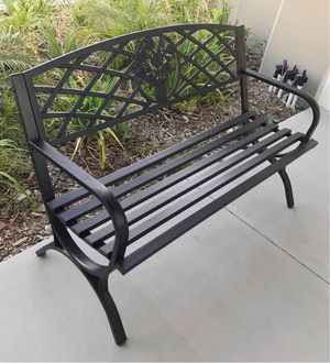 New in box $70 each 500 lbs weight capacity 50x24x34 inches tall outdoor patio garden steel bench chair banco al aire libre for Sale in Whittier, CA