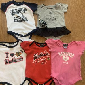 Cute Lot Of Onesies. All Size 12 Months. Chicago Blackhawks And Chicago White Sox And A Chicago White Sox Ornament for Sale in Chicago, IL