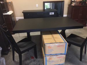 Brand new Lifestyle 8pc Rustic Farmhouse Black Dining Set (read description) for Sale in Willow Spring, NC