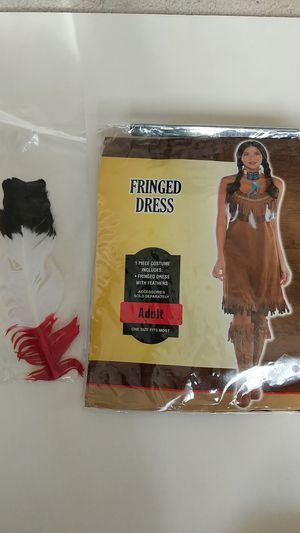 Halloween or dress up fringed dress hippie or native american costume and feather for Sale in Germantown, MD