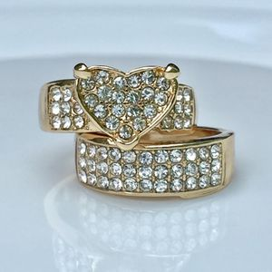 18k gold plated ring band set white sapphire size 6,7,8 for Sale in Silver Spring, MD