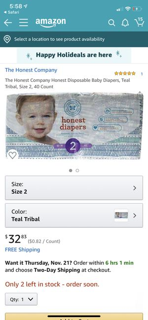 Honest size 2 40 count diapers for Sale in Norfolk, VA