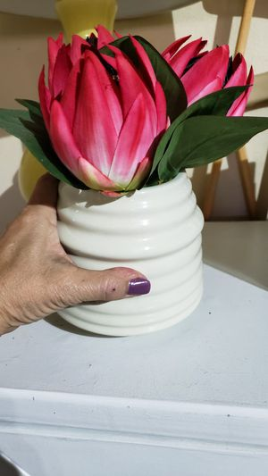 Creamy off white ceramic vase with beautiful hot pink flowers and velvety green leafs for Sale in Apopka, FL