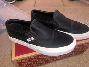 Leather black vans for Sale in Plano, TX