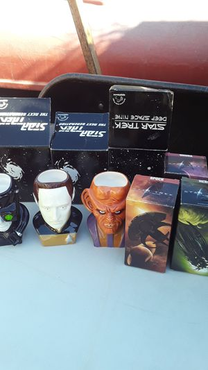 Star Trek collectibles glasses mugs collectible cards games statue candy dish all together for Sale in San Bernardino, CA