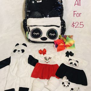 Panda Backpack w/Doll Clothes Bundle for Sale in Warrenville, IL