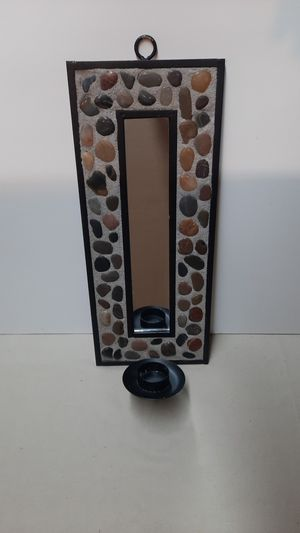 Custom stone and metal mirror with candle holder for Sale in Vista, CA