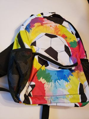 Nice unique heavy duty soccer ball with splashes of color backpack for Sale in Plainville, CT