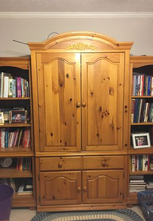 Beautiful pine entertainment center 3 pieces for Sale in Marietta, GA